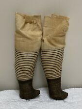 Antique Or Vintage China Head Doll Cloth Legs With Striped Socks Parts Repair