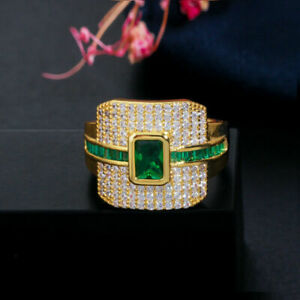 Spectacular Engagement Men's Ring For Gift 14K Yellow Gold Over 2.68Ct Emerald