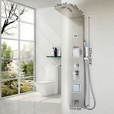 Nickel Bathroom Screen Shower Panel Thermostatic System With Plastic Hand Spray