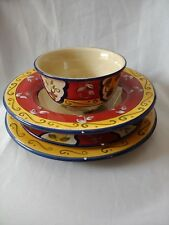 PIER 1 VALLARTA DINNER SALAD PLATES CEREAL BOWL RED YELLOW BLUE FLORAL