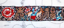 c'19th Chinese Embroidery Couching & Satin Stitch Sleeve Band Textile Silk Panel
