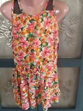 Little Girls Sz 6x Two Piece Set Tank & Shorts Romper Style Coral Pink Print Nwt