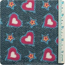 Half Yard Pink Hearts Stars Blue Denim Look Cotton Flannel Fabric 1/2 Yard