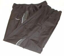 Reebok Mens Mesh Lined Track Suit Pants Black White Stripe Lightweight M NWOT