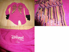 Youth Girls Disney Signed L Pink Glitter Shirt L/S Fairy Wings (A)