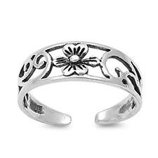 Flower Design Toe Ring Face Height: 5 mm Sterling Silver 925 Usa Seller