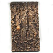 Alte, große Teakholz Handarbeit 3D Schnitzerei Relief Bali Indonesien 50x30 1