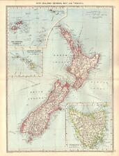 1907  LARGE ANTIQUE MAP - NEW ZEALAND : GENERAL MAP AND TASMANIA
