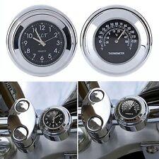 "7/8""1"" Waterproof Motorcycle Handlebar Mount Black Dial Clock & Thermometer Temp"