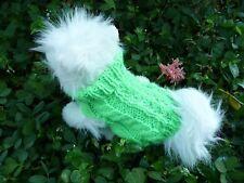 XXS  handmade knit  Green dog sweater