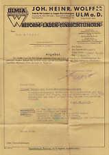 """ULM a. D., Brief 1939, """"ULMIA""""-Reform-Laden-Einrichtungen Joh. Heinr. Wolff GmbH"""