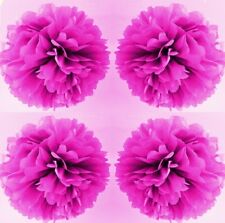 7 x cerise pink tissue paper pompoms hanging wedding party birthday decorations