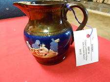 "Beautiful Vintage Porcelain Copper Lustre Pitcher.with Handpainted Band.4"".Sale"