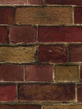 Wallpaper Faux Vintage Red and Tan Brick Wall, Looks Real Up!