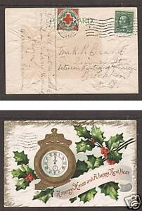 US Sc WX6, 331 on 1910 embossed Christmas PPC