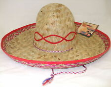 Adult Unisex Mexican Sombrero Fancy Dress Straw Hat Beige/Red New by Smiffys