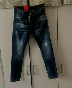 Dsquared2 Men's Slim Fit Jeans Blue Paint Splatter Distressed Jeans 2% ELASTANE
