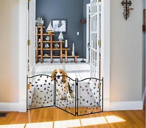 Metal Pet Gate 3 Panel Leaf Design - Extra Wide Expandable & Foldable Dog Fence