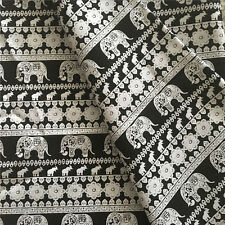 50x150cm Cotton Canvas Fabric DIY Craft Material Elephant Flower Black Base F41F