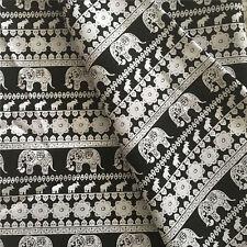 50x150cm Cotton Canvas Fabric DIY Craft Material Elephant Flower Black Base F41F
