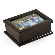 Sophisticated 4 x 6 Photo Frame Music Box with Floral Motifs - MBA Retail $205