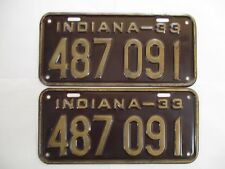 NICE 1933 Indiana PAIR  License Plate Tag