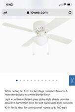 "Harbor Breeze Builders Series 42"" White Finish Ceiling Fan #0373684 Model #40016"