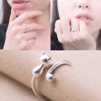 Neue Frauen Silber überzogene Katze langen Schwanz Ringe verstellbare Finger öff