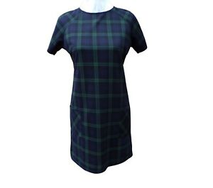 New Look Check Shift Dress Plaid Green Blue Size 12