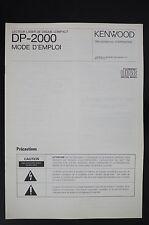 Kenwood dp-2000 ORIGINAL Reproductor de CD INSTRUCCIONES DE EMPLEO/OPERATING