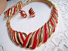 HAUTE COURTURE RED ENAMEL FLAME NECKLACE BRACELET CLIP EARRINGS TRIFARI GOLD VTG
