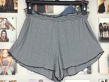New brandy melville Black Cream Stripe high waisted ruffled trim ross shorts Nwt