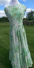 vintage dorville at michael geary green white brown floral maxi dress