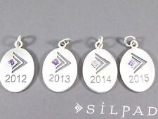 HTF SILPADA Sterling Silver Director Oval Amethyst Charms Pendants set of 4