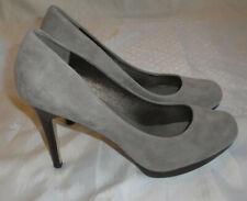 "BANANA REPUBLIC Leather Platform Pumps,Round Toe 4"" High Heels,Gray/Brown,9.5 M"