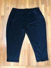 Woman Within Plus Size 5X Velour Velvet Elastic Waistband Black Casual Pants