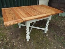 Antique Barley Twist Draw Leaf Oak Painted Shabby Chic Refectory Dining Table