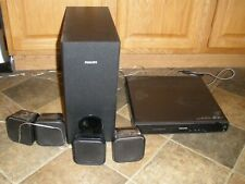 PHILLIPS HOME SURROUND SYSTEM HTS3371D WITH 4 SPEAKERS AND SUB WORKS NO REMOTE