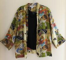 Citron Santa Monica -Sz L Birds Charming Asian Silk Shirt Shirt Jacket +Tank Top