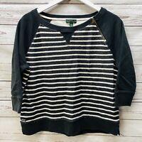 LRL Ralph Lauren Women White Black Striped Boatneck Sweatshirt Top XL 3/4 Sleeve