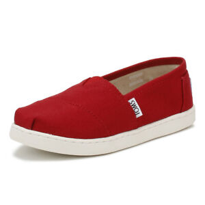 TOMS Youth Red Canvas Classic Espadrilles Kids Casual Summer Shoes Comfortable