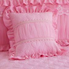 2PCS Cushion Covers Princess Lace Ruffle Square Zip Pillowcases Home Adorn 45cm
