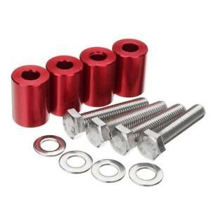 Red Car Hood Vent Spacer Riser Kits For Engine Motor Swap Billet Aluminum 4Pcs