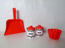 dinette vintage plastique orange pots à condiments pelle à poussière moule