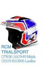 SMALL Airoh Trials Bike Helmet BLUE RED WHITE Wintage TRR Carbon & Kevlar Open F