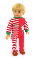 "Santas Little Helper Footie Pajamas Fits 18"" American Boy Or Girl Doll Clothes"