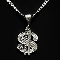 "1 1/2"" Solid 925 Sterling Silver Diamond Cut Dollar Sign Money Hustler Pendant"