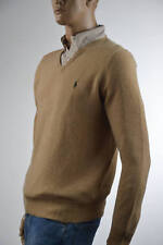 Ralph Lauren Camel 100% Lambs Wool V-Neck Sweater Brown Pony-Large- NWT