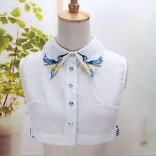 Women Lapel Shirt Fake False Collar Tie Fashion Embroidery Detachable Collar