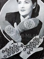 Vintage 1940s Knitting Pattern LADIES WOMENS FAIR ISLE MITTENS GLOVES Wartime